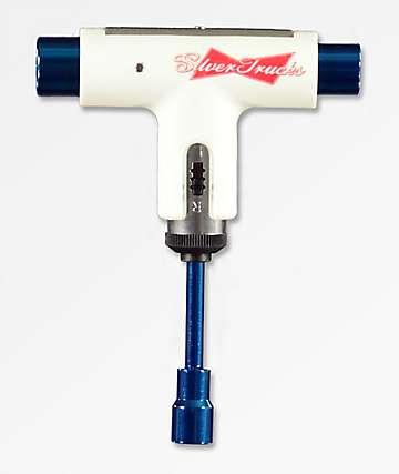 Silver Trucks Lager herramienta de skate blanca y azul