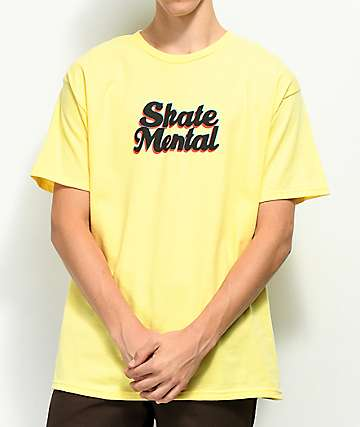 Skate Mental 3D Logo Yellow T-Shirt
