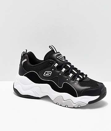 Skechers D'Lites 3.0 Wavy Suede Black & White Shoes