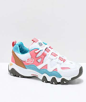 Skechers x One Piece D'Lites 2 White, Pink and Blue Shoes