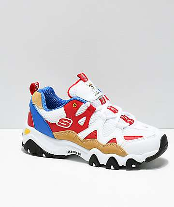 Skechers x One Piece D'Lites 2 White, Red, & Blue Shoes