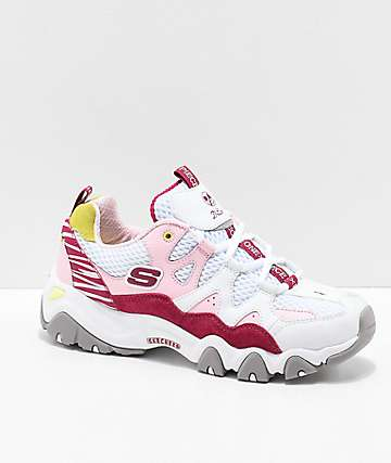 Skechers x One Piece D'Lites 2 White & Pink Shoes