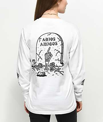 Sketchy Tank Adios Amigos White Long Sleeve T-Shirt