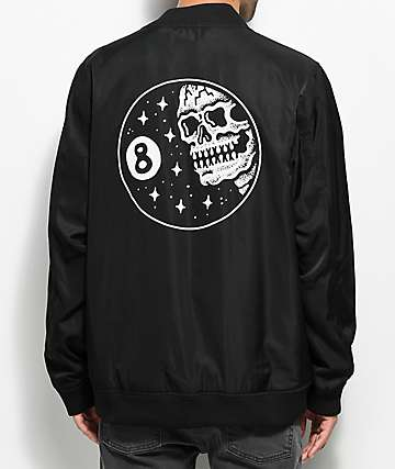 Sketchy Tank Bomb-Out Black Satin Bomber Jacket