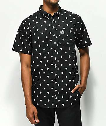 Sketchy Tank Chaos Print Black Short Sleeve Button Up Shirt