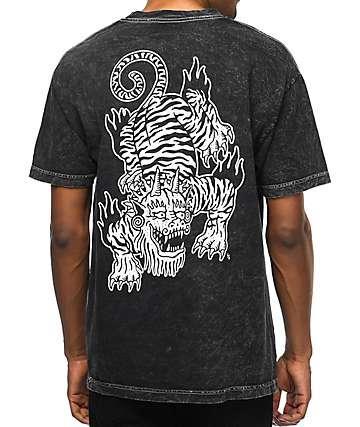 Sketchy Tank Crawl Acid Wash Black T-Shirt