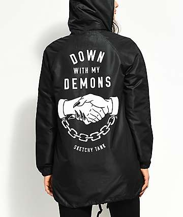 Sketchy Tank Demons Black Elongated Hooded Coaches Jacket