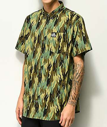 Sketchy Tank Fuegoflage Short Sleeve Button Up Shirt