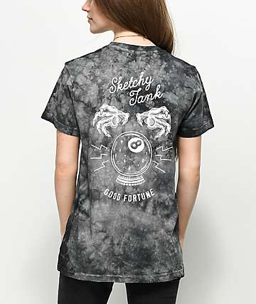 Sketchy Tank Good Fortune Black Crystal Wash T-Shirt