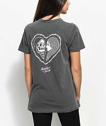 Sketchy Tank Heart Grey T-Shirt