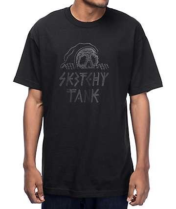 Sketchy Tank Lurk Black On Black T-Shirt