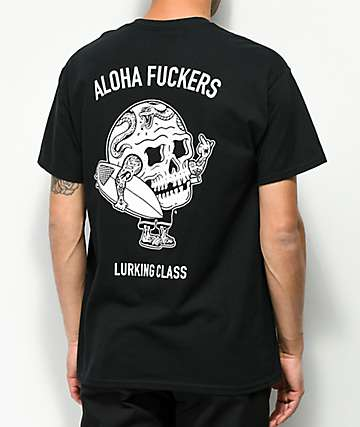 Sketchy Tank Lurking Class Aloha Black T-Shirt