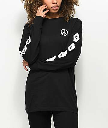 Sketchy Tank Peace Of Mind Black Long Sleeve T-Shirt