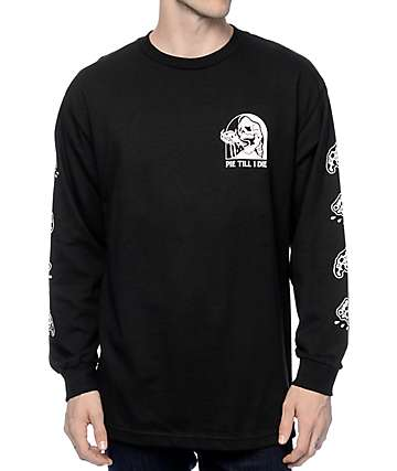 Sketchy Tank Pie Black Long Sleeve T-Shirt