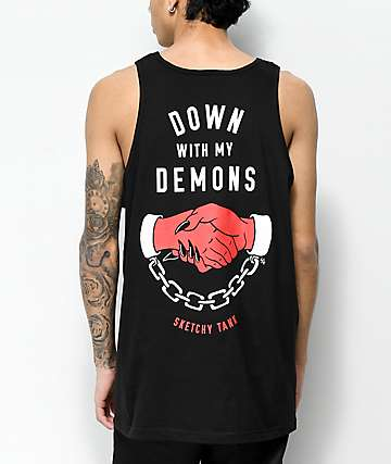 Sketchy Tank Redrum Down With My Demons Black Tank Top