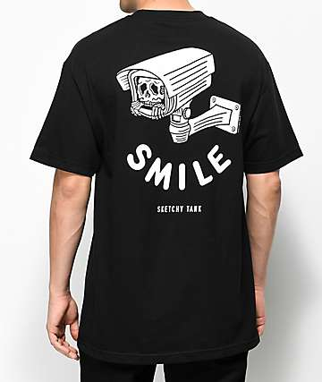 Sketchy Tank Smile Black T-Shirt