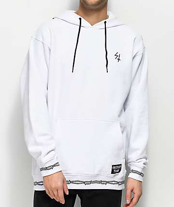 Sketchy Tank Thorn Wire White Hoodie