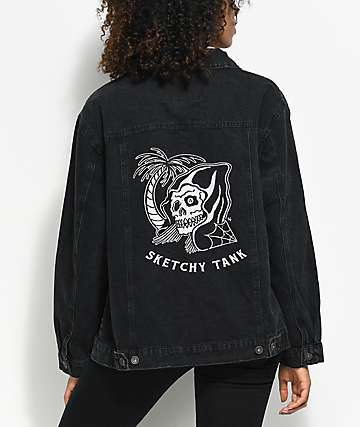 Sketchy Tank Trucker Black Denim Jacket
