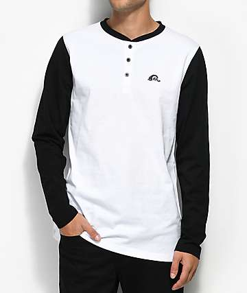 Sketchy Tank Underground Black & White Long Sleeve Henley T-Shirt