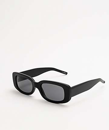 Skinny Rectangle Black Sunglasses