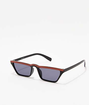 Skinny Trapazoid Black & Red Sunglasses