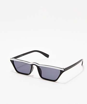 Skinny Trapazoid Black & White Sunglasses