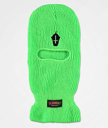 Slushcult Neon Cross Cup Green Ski Mask