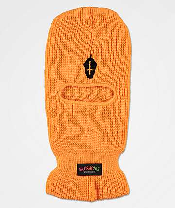 Slushcult Neon Cross Cup Orange Ski Mask