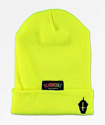 Slushcult Tennis Yellow Embroidered Beanie