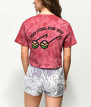 Slushcult Too Cool For You Burgundy Crop T-Shirt