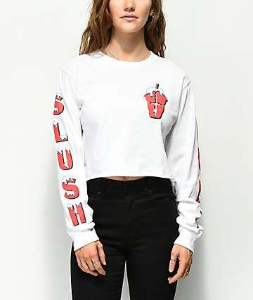 Slushcult camiseta corta de manga larga blanca