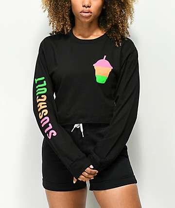 Slushcult camiseta corta de manga larga en negro