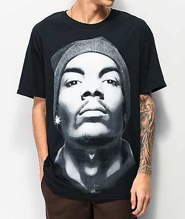 Snoop Close Up Beanie Black T-Shirt