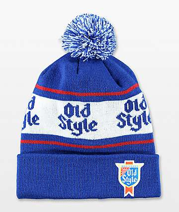 Spacecraft Old Style Blue & White Pom Beanie