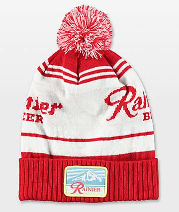 Spacecraft Rainier Red & White Pom Beanie