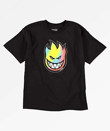 Spitfire Big Head Rainbow Fill camiseta negra para niños