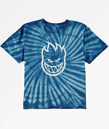 Spitfire Big Head camiseta azul con efecto tie dye para niños