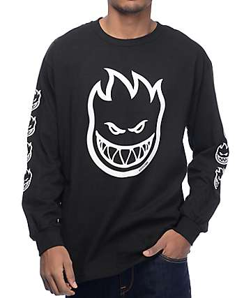 Spitfire Big Overburn Black Long Sleeve T-Shirt