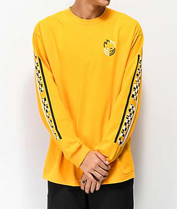 Spitfire Bighead Bar Check Gold Long Sleeve T-Shirt