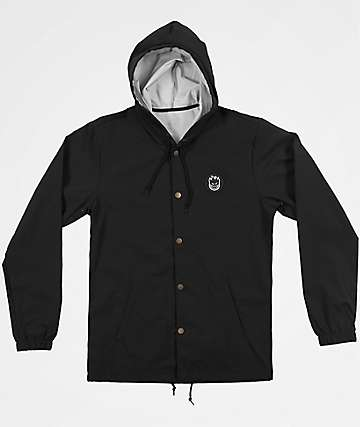 Spitfire Bighead Circle Patch Black Hooded Coaches Jacket
