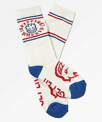 Spitfire Boys Classic Bighead White & Blue Socks
