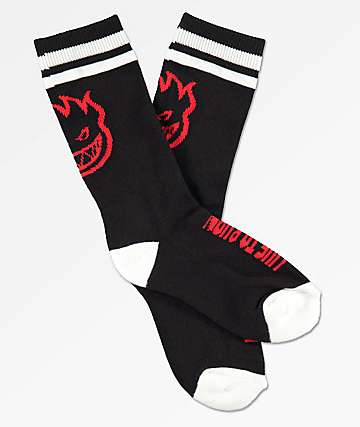 Spitfire Boys Heads Up Black, Red & White Socks