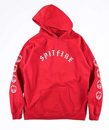Spitfire Boys Old E Red Hoodie