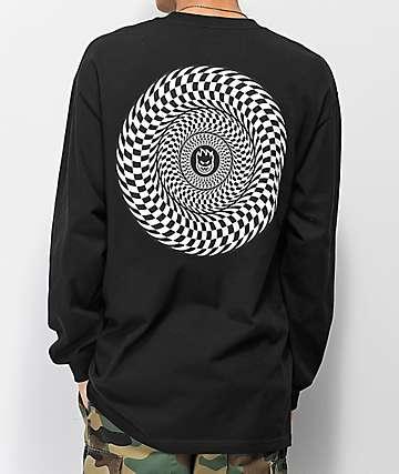 Spitfire Checkered Swirl camiseta negra de manga larga