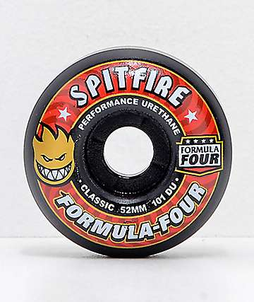 Spitfire Formula Four Classic 52mm 101a Black & Red Skateboard Wheels