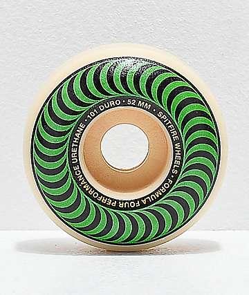 Spitfire Formula Four Classic 52mm 101a ruedas de skate en verde y negro