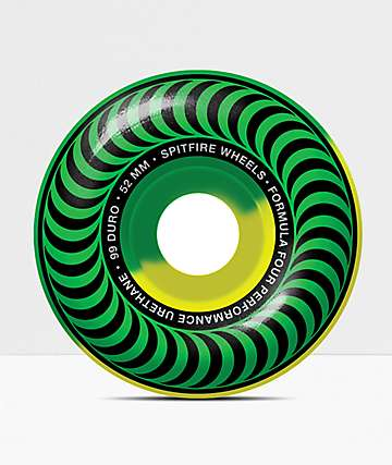 Spitfire Formula Four Classic Green & Yellow 53mm 101a Skateboard Wheels