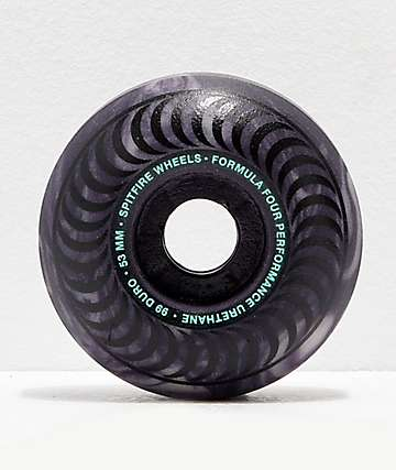 Spitfire Formula Four Stay Lit Black Swirl Glow 53mm 99a Skateboard Wheels