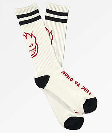 Spitfire Heads Up White Crew Socks