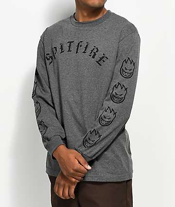 Spitfire Old E Heather Charcoal Long Sleeve T-Shirt